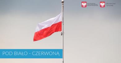 biało-czerwona flaga na maszcie