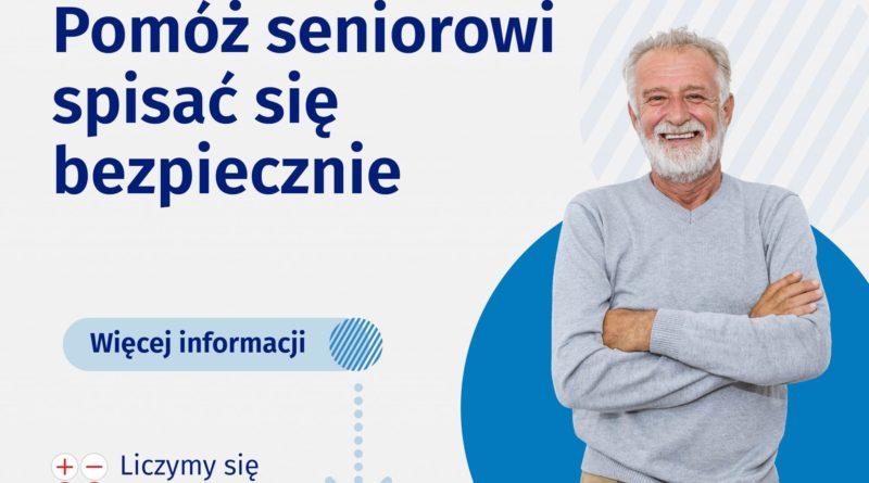 Baner promujący spisu seniorów, senior na zdjęciu