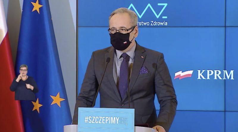 Minister zdrowia podczas konferencji prasowej