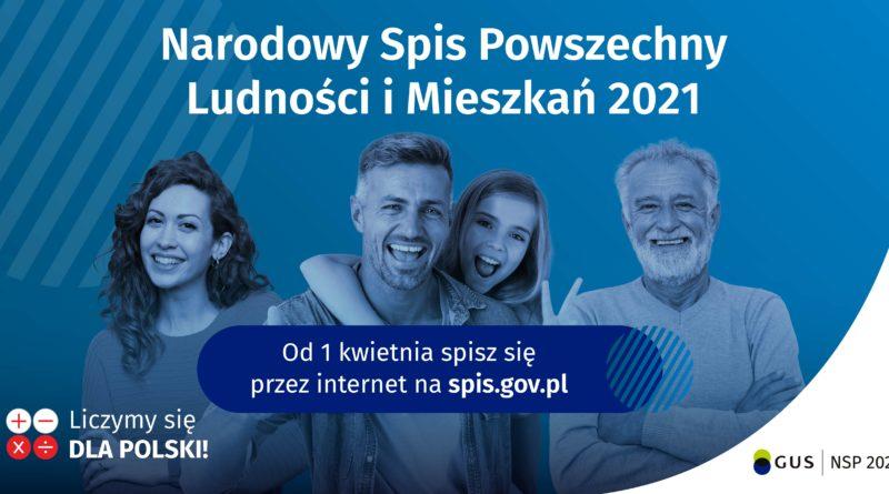 """anner informacyjny o Narodowym Spisie Powszechnym, osoby na niebieskim tle, napis """"wejdź na spis.gov.pl i spisz się! Spis trwa od 1 kwietnia"""","""